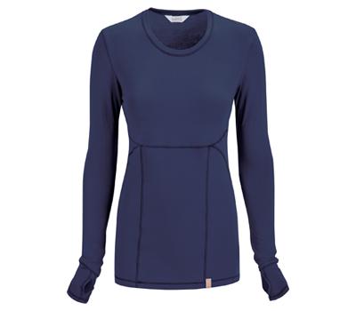 Code Happy Bliss Women's Long Sleeve Underscrub Knit Tee Blue