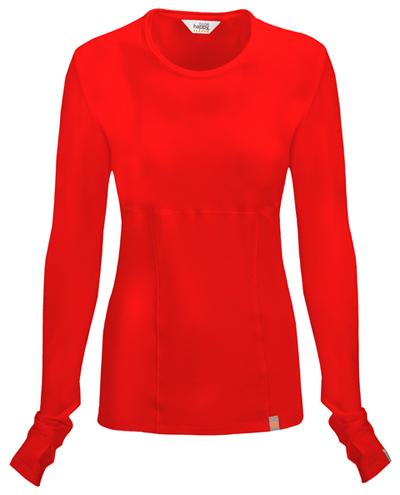 Code Happy Bliss Women's Long Sleeve Underscrub Knit Tee Red