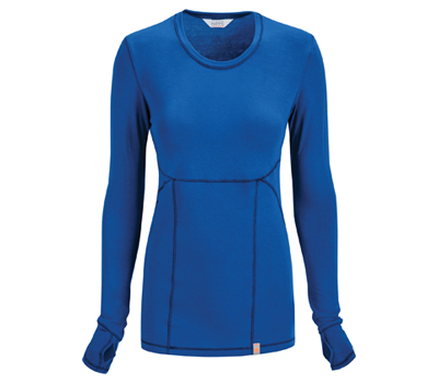 Bliss Women's Long Sleeve Underscrub Knit Tee Blue