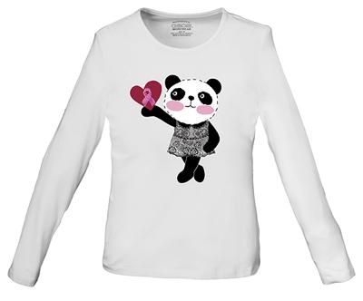 WW Core Stretch Women's Little Miss Panda Long Sleeve Knit Tee White