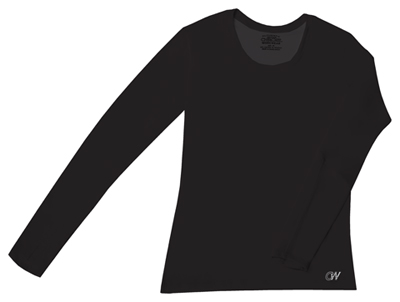 WW Originals Women's Long Sleeve Underscrub Knit Tee Black