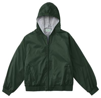 Classroom Child's Unisex Youth Unisex Zip Front Bomber Jacket Green