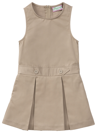 Classroom Girl's Girls Plus Kick Pleat Jumper Khaki