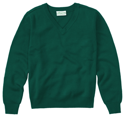 Classroom Unisex Adult Unisex Long Sleeve V-Neck Sweater Green
