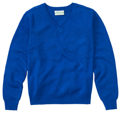 Classroom Unisex Adult Unisex Long Sleeve V-Neck Sweater Blue