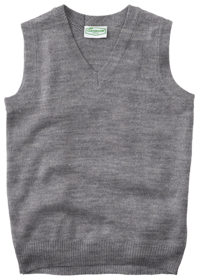 Classroom Child's Unisex Youth Unisex V- Neck Sweater Vest Gray