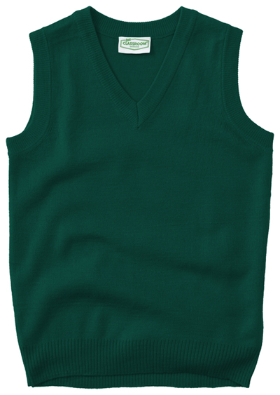 Classroom Child\'s Unisex Youth Unisex V- Neck Sweater Vest Green
