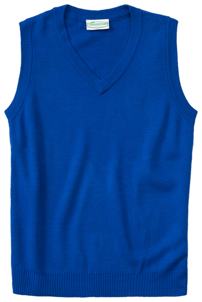 Classroom Child's Unisex Youth Unisex V- Neck Sweater Vest Blue