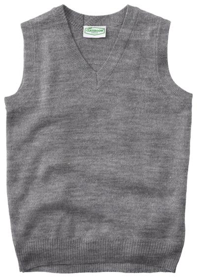 Classroom Unisex Adult Unisex V-Neck Sweater Vest Gray
