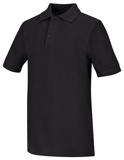 Classroom Child's Unisex Youth Unisex Short Sleeve Pique Polo Black