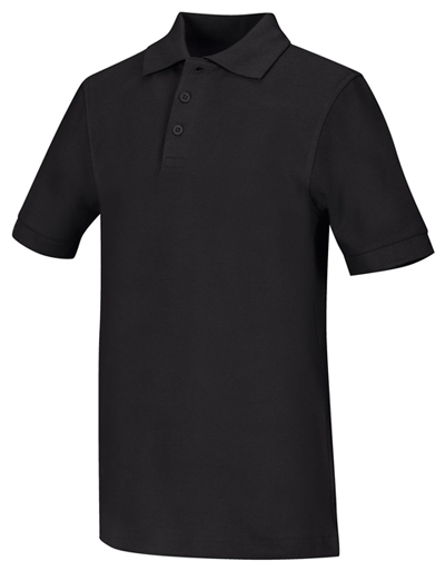 Classroom Unisex Adult Unisex Short Sleeve Pique Polo Black