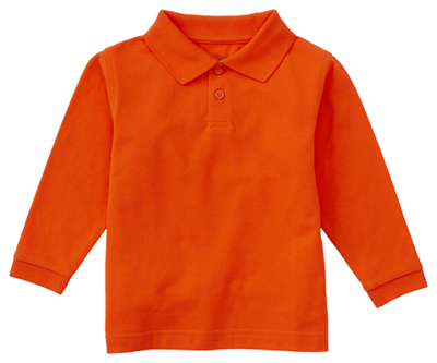 Classroom Child's Unisex Youth Unisex Long Sleeve Pique Polo Orange
