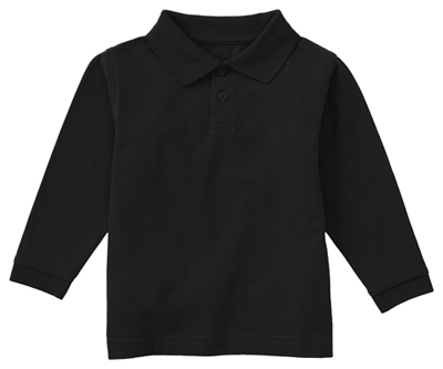 Classroom Child's Unisex Youth Unisex Long Sleeve Pique Polo Black
