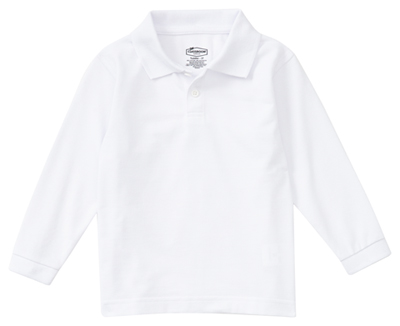 Classroom Child's Unisex Youth Unisex Long Sleeve Pique Polo White