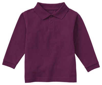 Classroom Child's Unisex Youth Unisex Long Sleeve Pique Polo Purple