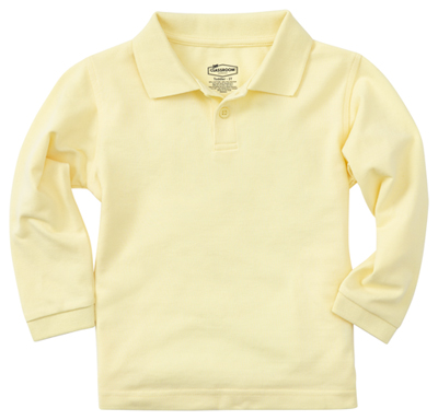 Classroom Child's Unisex Youth Unisex Long Sleeve Pique Polo Yellow