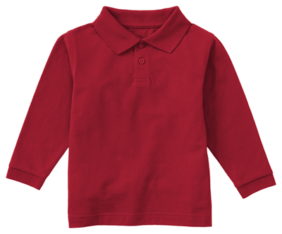 Classroom Unisex Adult Unisex Long Sleeve Pique Polo Red