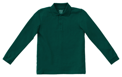 Classroom Unisex Adult Unisex Long Sleeve Pique Polo Green
