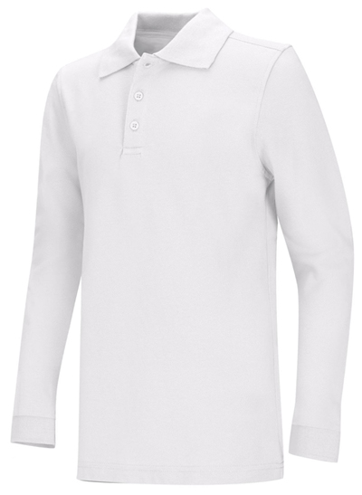 Classroom Unisex Adult Unisex Long Sleeve Pique Polo White