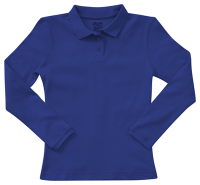 Classroom Girl's Girls Long Sleeve Fitted Interlock Polo Blue