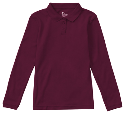 Classroom Junior's Junior Long Sleeve Fitted Interlock Polo Purple