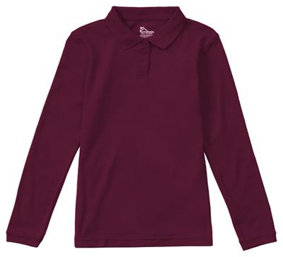 Classroom Junior's Junior Long Sleeve Fitted Interlock Polo Purple