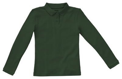 Classroom Junior's Junior Long Sleeve Fitted Interlock Polo Green