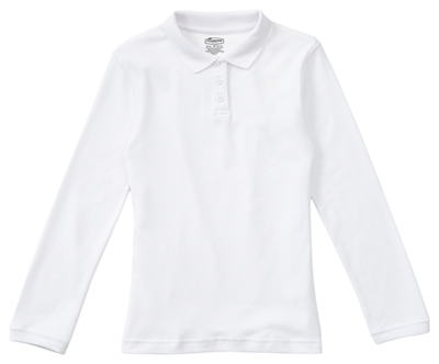 Classroom Junior's Junior Long Sleeve Fitted Interlock Polo White