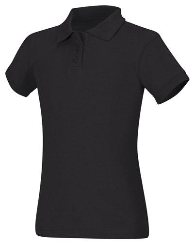 Classroom Girl\'s Girls Short Sleeve Fitted Interlock Polo Black