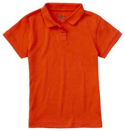 Classroom Girl\'s Girls Short Sleeve Fitted Interlock Polo Orange