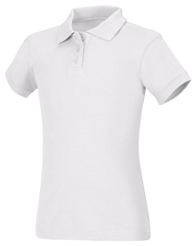 Classroom Uniforms Classroom Girl's Girls Short Sleeve Fitted Interlock Polo White