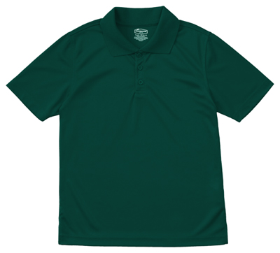 Classroom Child's Unisex Youth Unisex Moisture-Wicking Polo Shirt Green