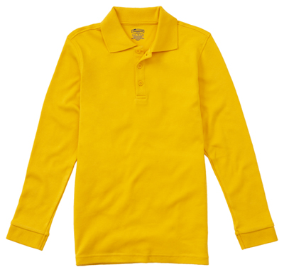 Classroom Child's Unisex Youth Unisex Long Sleeve Interlock Polo Yellow