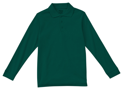 Classroom Child's Unisex Youth Unisex Long Sleeve Interlock Polo Green