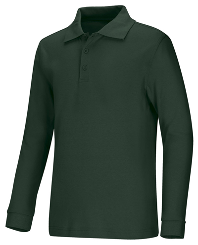 Classroom Unisex Adult Unisex Long Sleeve Interlock Polo Green