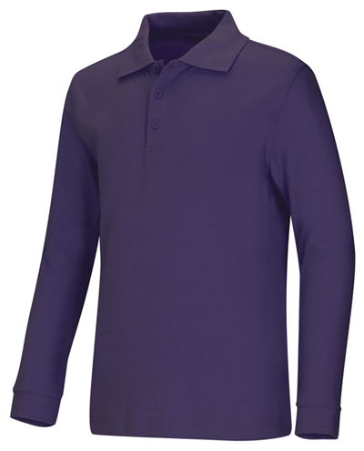 Classroom Unisex Adult Unisex Long Sleeve Interlock Polo Purple