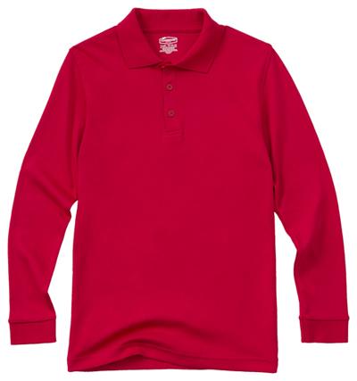 Classroom Unisex Adult Unisex Long Sleeve Interlock Polo Red