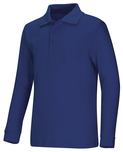 Classroom Unisex Adult Unisex Long Sleeve Interlock Polo Blue