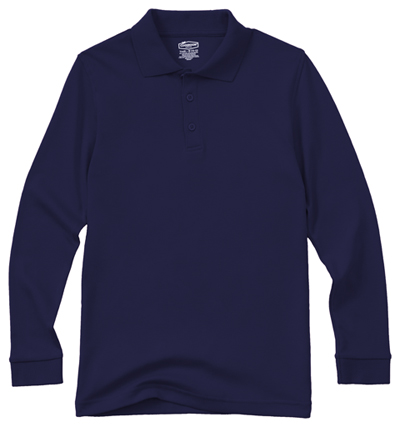 Classroom Unisex Adult Unisex Long Sleeve Interlock Polo Blue