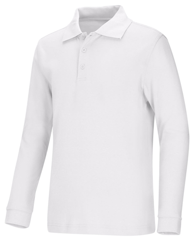 Classroom Unisex Adult Unisex Long Sleeve Interlock Polo White
