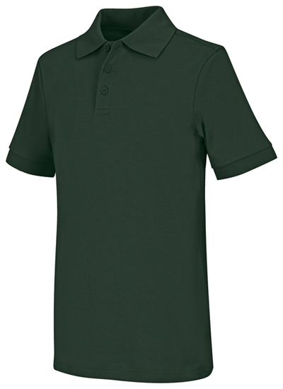 Classroom Child's Unisex Youth Unisex Short Sleeve Interlock Polo Green