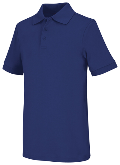 Classroom Child's Unisex Youth Unisex Short Sleeve Interlock Polo Blue