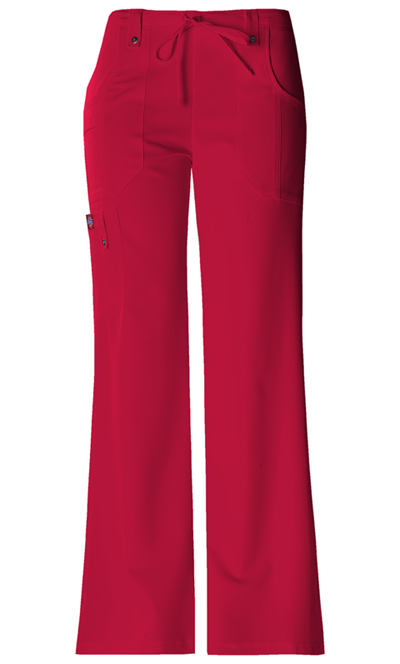 Xtreme Stretch Women Mid Rise Drawstring Cargo Pant Red