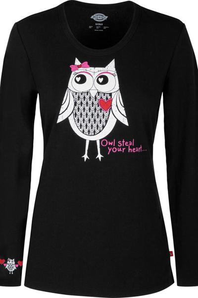 Dickies Prints Women's Owl Steal Your Heart Underscrub Tee Black