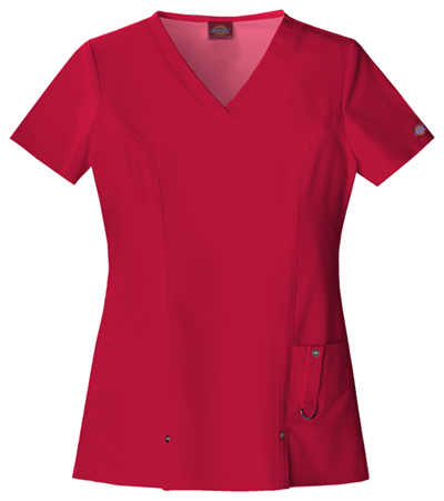 Dickies Xtreme Stretch Women's V-Neck Top Red