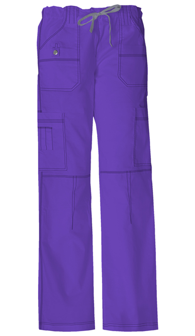 Gen Flex Women's Low Rise Drawstring Cargo Pant Purple