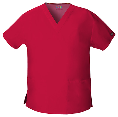 Dickies EDS Signature Women's V-Neck Top Red