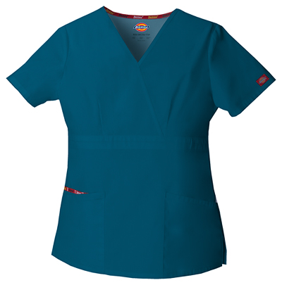 Dickies EDS Signature Women's Mock Wrap Top Blue
