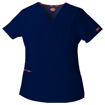 Dickies EDS Signature Women's Mock Wrap Top Blue