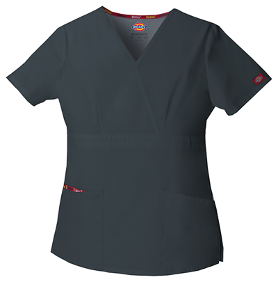 Dickies EDS Signature Women's Mock Wrap Top Gray